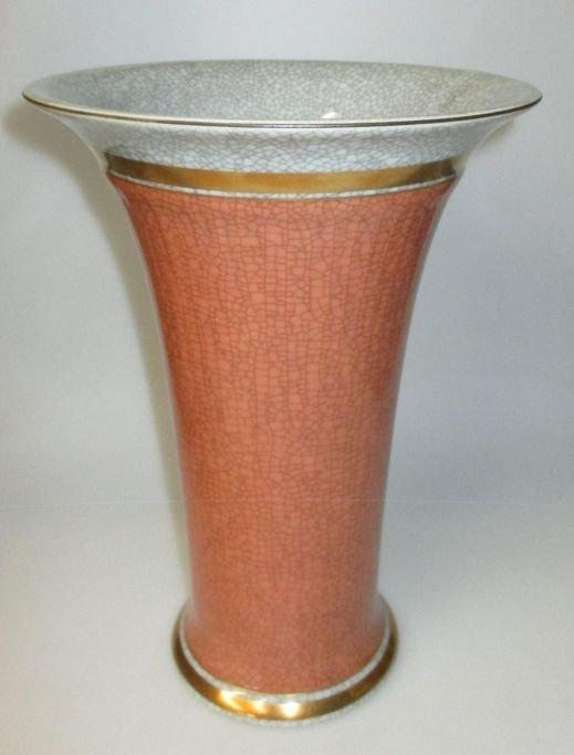 Worldantique Royal Copenhagen Vase In Craquele With Gilding