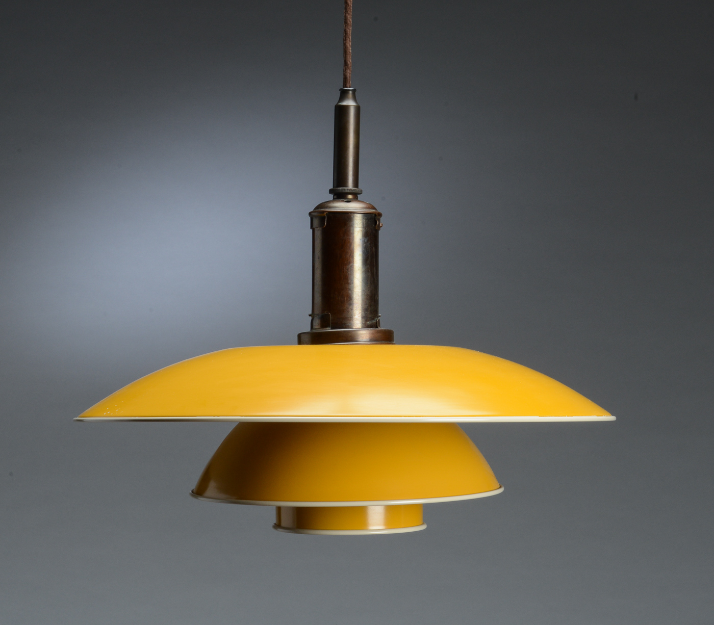 Worldantique poul henningsen ph 4 4 pendant lamp with shade ph 4 4 pendant lamp with shade yellow painted metal mounted on wire shade holder marked ph4200 patented greentooth Images