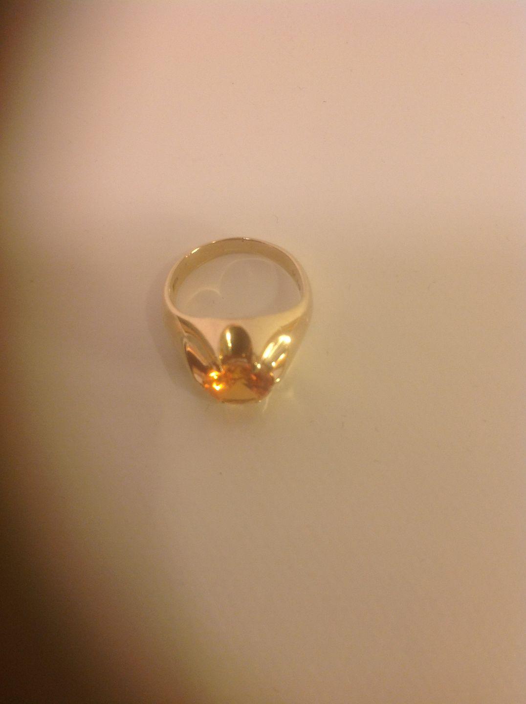 WorldAntique net - Gold ring with a brilliant-cut fire opal  * 14k