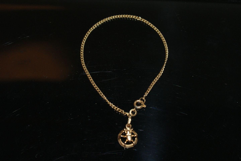 Panzer chain bracelet with pendant, 18 c