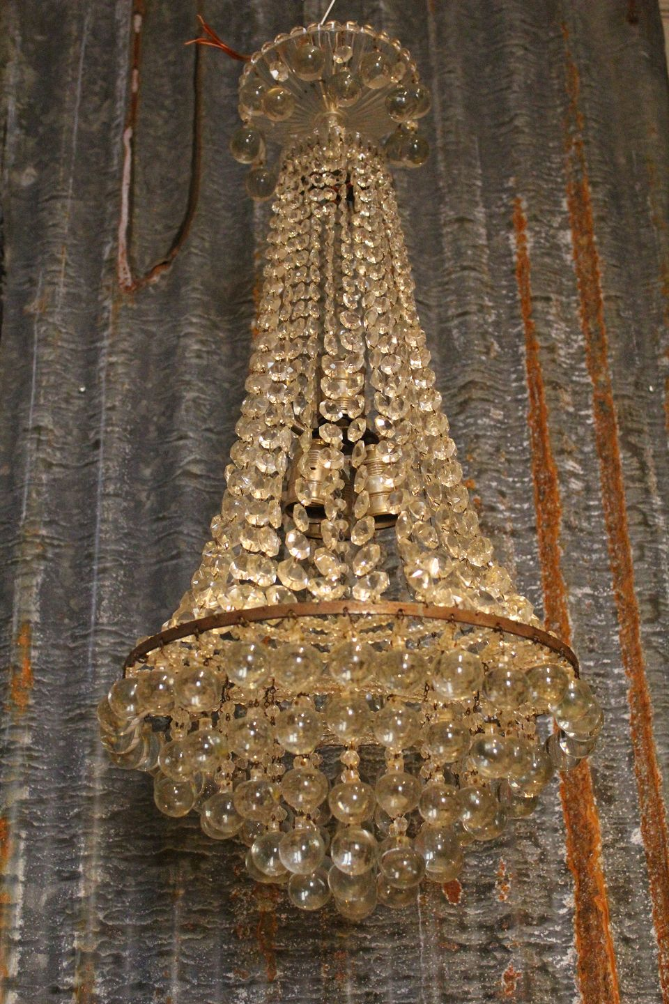 Worldantique fine old crystal chandelier with lots of clear fine old crystal chandelier with lots of clear glass prisms and bottom of large glass beads aloadofball Images
